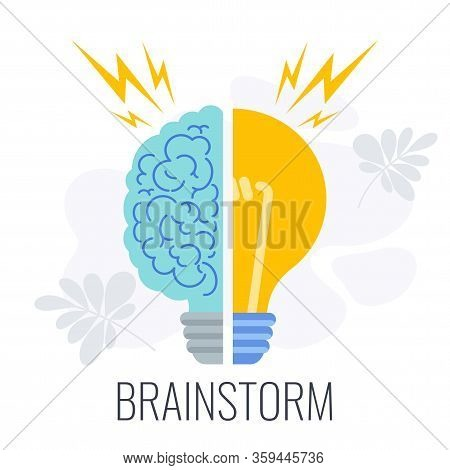 Brainstorming Icons. Half Brain, Half Lamp. Creative Technique For Generating Ideas, New Solutions.