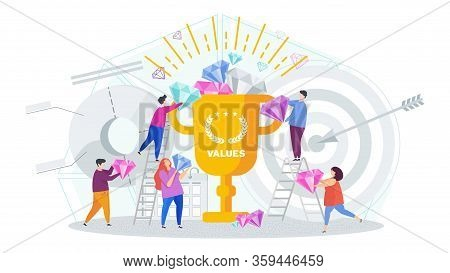 Business Values Concept. Company Values Shared By Staff. Employees Support The Company Ideas, Busine