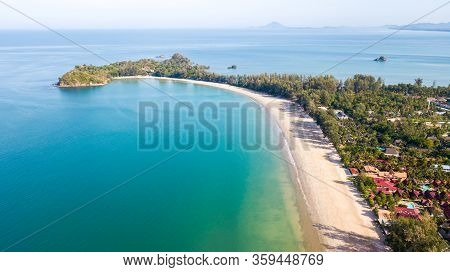 Aerial From Drone, Landscape Of Klong Dao Beach At Lan Ta Island. South Of Thailand Krabi Province,p