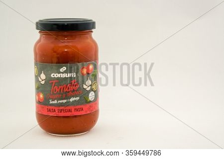 Torrevieja, Valenciana, Spain - Apr 04 2020 : Jar Of Consum Tomato And Oregano Sauce With Copy Space
