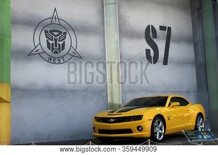 Sentosa, Sg - Oct. 19: Yellow Chevrolet Camaro At Universal Studios Singapore On October 19, 2016 In