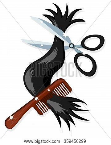 Hair With Hairdressing Scissors And Comb On White Background. Barber Logo.