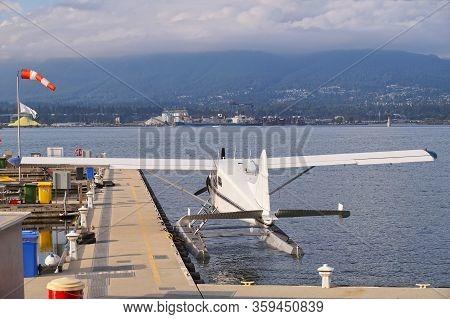 Canada. Coal Harbour, Vancouver. Seaplane Prepared For Take-off.