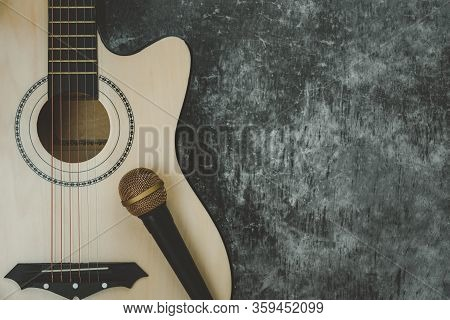 Table Top View Of Music Instrument Tools Concept Background.flat Lay Of Sign To Sing For Musician Or