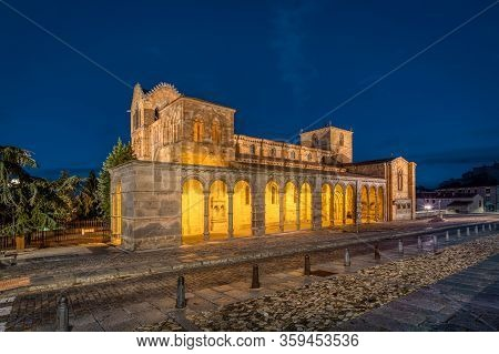 Avila, Spain. View Of Historic Basilica De San Vicente At Dusk