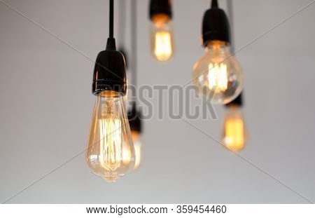 Decoration Antique Edison Led Light Style Filament Light Bulbs , Graphic Of Wire Background And Copy