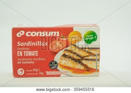 Torrevieja, Valenciana, Spain - Apr 04 2020 : Tin Of Sardines In Tomato Sauce With Copy Space.