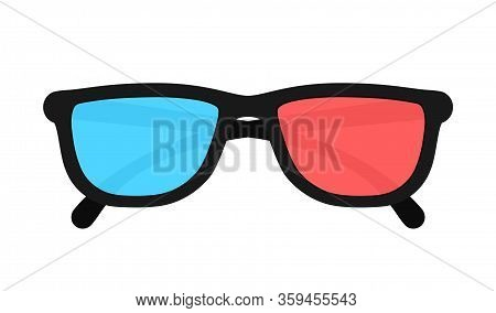 3d Glasses Isolated On Background. Three-dimensional Plastic Glasses With Red And Blue Lenses. Eyegl