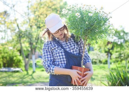 Happy woman holding a pot with daisy flower in the garden