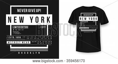 T-shirt Graphic Design In Minimalistic Style. New York City Typography T Shirt And Apparel Design. U