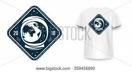 Space Badge With Astronaut Helmet. Vintage Astronaut Label, Patch Or Embroidery For T-shirt Print. T