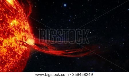 Solar Prominence, Solar Flare, And Magnetic Storms. Plasma Flash On The Surface Of A Star. Elements