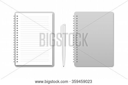 Notebook With Pen, Open Notebook And Closed.