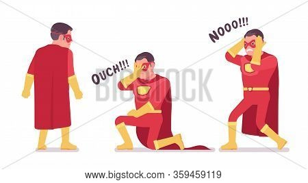 Male Super Hero In Classic Red Costume Negative Emotions. Heroic Strong Brave Warrior, Superpower Ma