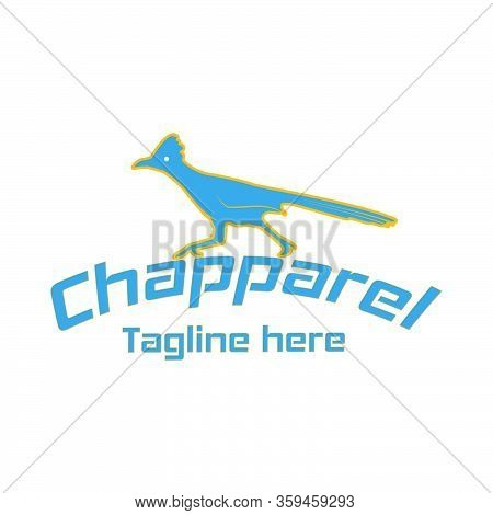 Roadrunner, Chaparral Bird Logo Design With Bending Text Title Vector Template
