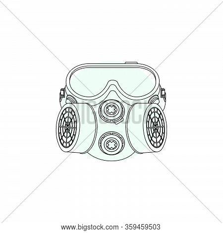 Outline Illustration Vector Graphic Of Respirator For Template Design. Stop Covid-19 Masker