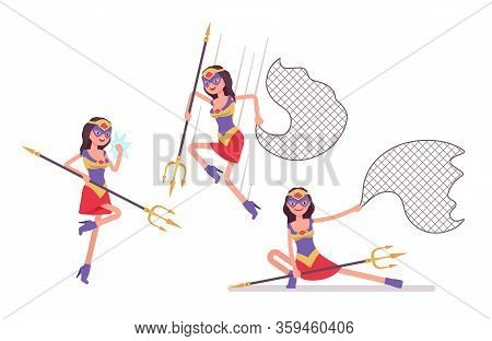 Female Super Hero In Attractive Costume Attacking With Net, Trident. Effective Wonder Warrior, Super