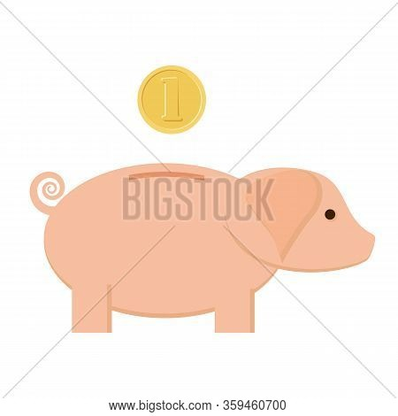 Piggybank On White Background. Coin Inserting To Pig Bank For Saving.