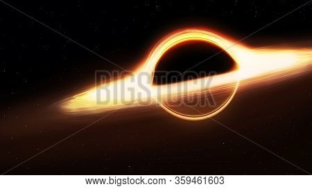 Black Hole And A Disk Of Glowing Plasma. Supermassive Singularity In Outer Space, End Of The Evoluti
