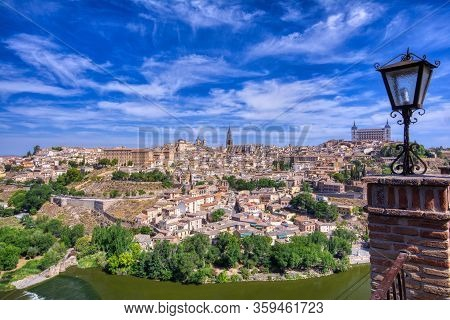 View Of The Historic City Of Toledo With River Tagus, Spain. Unesco World Heritage Site.