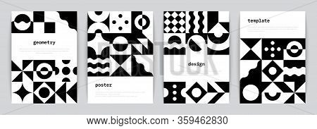 Bauhaus Poster. Minimal Monochrome Geometric Banners With Simple Black Shapes In Swiss Style. Vector