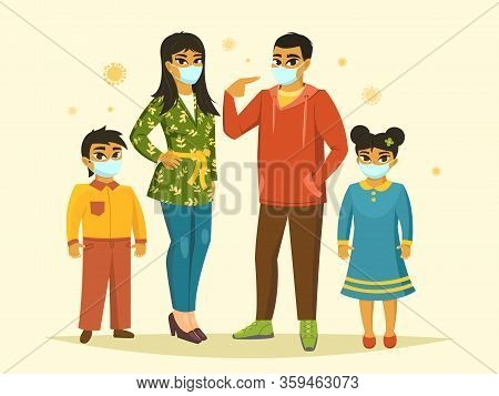 Big Family Wearing Surgical Mask, Coronavirus Protection, Vector Illustration