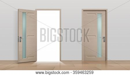 Open And Closed Doors. Realistic 3d White And Brown Home And Office Entry Doors. Vector Image Differ