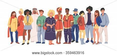 Multicultural Team. Group Of Different People In Casual Clothes Standing Together, Cartoon Character
