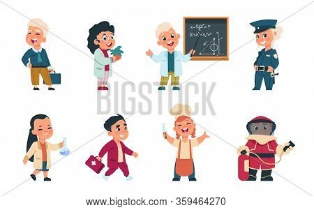 Kids Professions. Cartoon Cute Children Dressed In Different Occupation Uniform, Businessman Worker