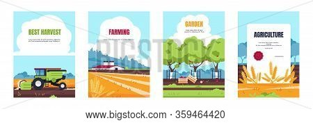 Agricultural Poster. Cartoon Booklet With Farmland Fields And Farmhouse, Smart Farming And Agricultu