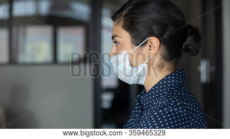 Cautious Young Businesswoman Preventing Spreading Corona Virus.
