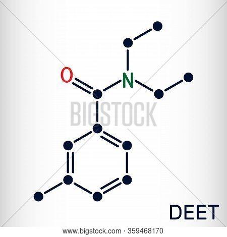 Deet, Diethyltoluamide, N,n-diethyl-meta-toluamide C12h17no Molecule. It Is Active Ingredient In Ins
