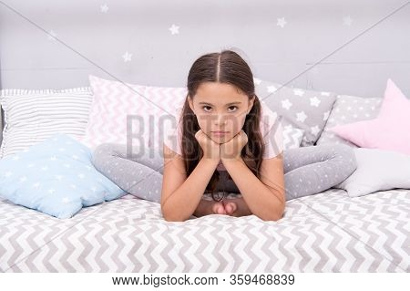 Why So Sad. Sad Girl Sit In Bed. Little Child With Sad Look. Bedtime Routine. Daytime Nap. Kids Heal