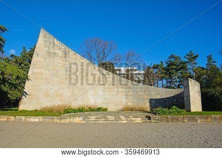 Rijeka, Croatia - December 26 2019. The Monument To The Patriots Of Rijeka Memorial, A Yugoslavia Er