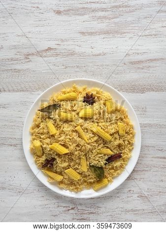 Baby Corn Pulao. Vegetarian Biryani, Indian Food. Top View, Copy Space