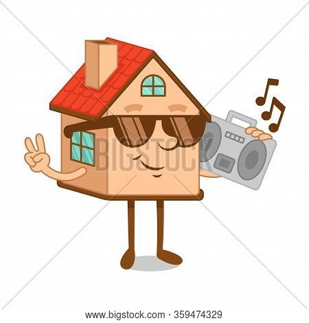 Artoon Character Of Cool Dude House Wear In The Sunglases With Boombox Tape Recorder For Home Party