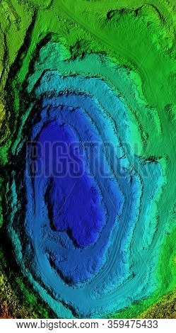 Dem - Digital Elevation Model. 3d Rendering Made After Proccesing Pictures Taken From A Drone. It Sh