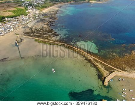 Aerial Viewi Of St Michaels Mount Bay, Cornwall, England, United Kingdom. Bay With Beach And Sea