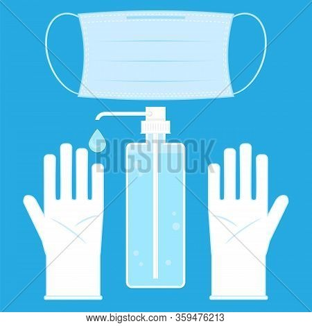 Hand Wash Gel Icon. Medical Sanitizer Symbol. Liquid Soap With Pumping From Bottle For Desinfection.