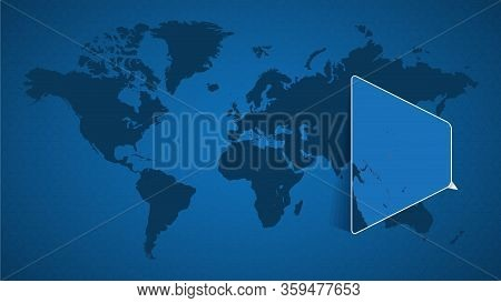 Detailed World Map With Pinned Enlarged Map Of Kiribati And Neighboring Countries. Kiribati Flag And