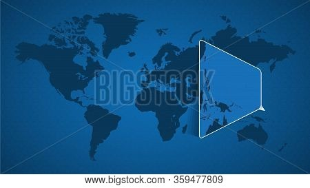 Detailed World Map With Pinned Enlarged Map Of Micronesia And Neighboring Countries. Micronesia Flag