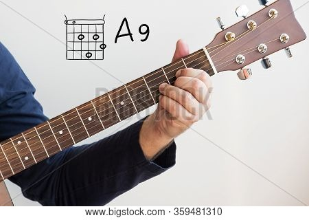 Learn Guitar - Man In A Dark Blue Shirt Playing Guitar Chords Displayed On Whiteboard, Chord A9