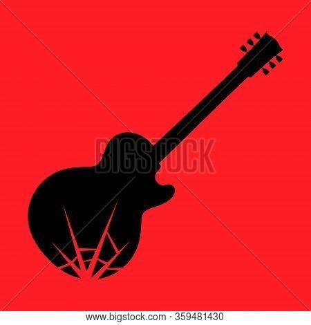 Smashing Broken Electric Guitar Symbol On Red Backdrop. Design Element