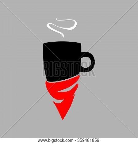 Coffee Mug With A Bandanna Symbol On Gray Backdrop. Design Element
