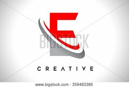 E, Swoosh, Red, Gray, Logo, Letter, Design, Creative, Typography, Logo, Corporate, Business, Concept