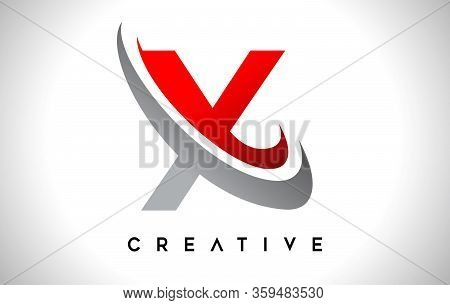 X, Swoosh, Red, Gray, Logo, Letter, Design, Creative, Typography, Logo, Corporate, Business, Concept