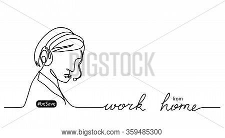 Work From Home Lettering And Vector Illustration. Person With Headset. Black And White Vector Banner