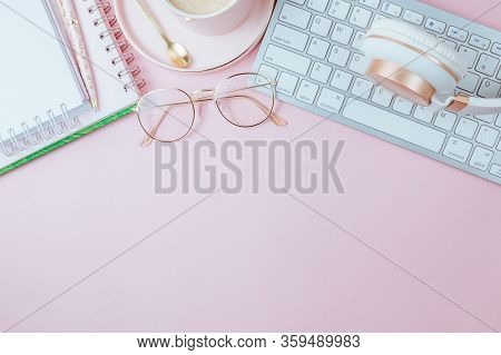 Flat Lay Of Office Feminine Desk Workspace With Cup Of Coffee, Succulent, Laptop, Empty Notebook, He