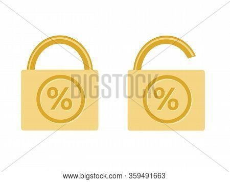 Fixed And Floating Rate Icon Monetary Financial Symbol Percentage Value Locked Pad