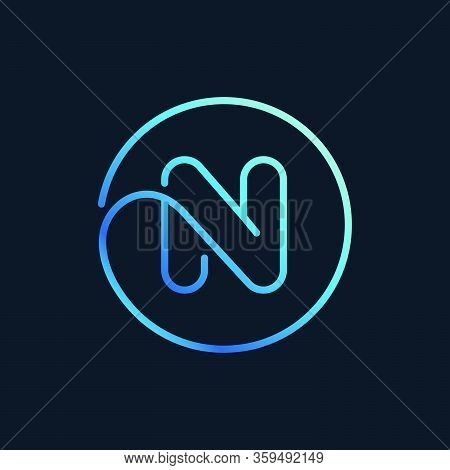 N Letter Logo In A Circle. Impossible Line Style. Perfect Blue Icon For Digital Labels, Nightlife Pr